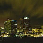 City Skyline With Milwaukee Art Museum Art Print