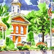 City Square In Watercolor Art Print