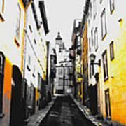 City Street Scene Black And Yellow Photograph Art Print