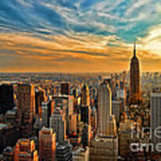 City Sunset New York City Usa Art Print by Sabine Jacobs