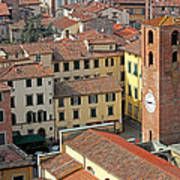 City View Of Lucca With The Clock Tower Print by Kiril Stanchev