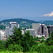 City With Mt. Hood In The Background Art Print