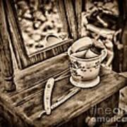 Civil War Shaving Mug And Razor Black And White Art Print