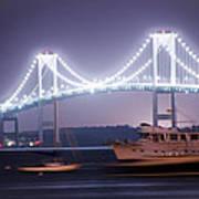Claiborne Pell Bridge At Night Art Print