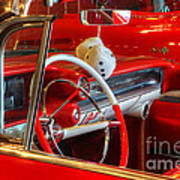 Classic Cadillac Beauty In Red Art Print