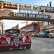 Classic Cannery Row - Monterey California With A Vintage Red Car. Art Print