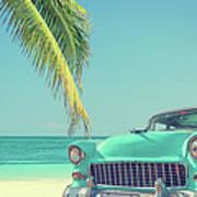 Classic Car On A Tropical Beach With Art Print