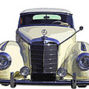 Classic White Mercedes Benz 300  Art Print