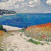 Claude Monet's Path In The Wheat Fields At Pourville-1882 Art Print