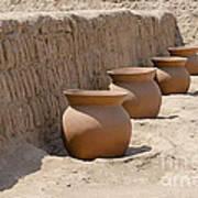 Clay Pots At Huaca Pucllana In Lima Peru Art Print