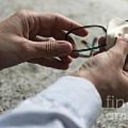 Cleaning Her Eyeglasses Art Print