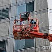Cleaning Skyscraper Window And Wall With Snorkel Singapore Art Print