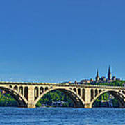 Clear Blue Skies At Key Bridge Art Print