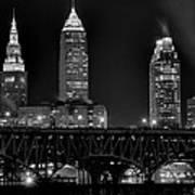 Cleveland Black And White Night Art Print