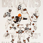 Cleveland Browns 40's To 50's Hall Of Famers Art Print by Joe Lisowski
