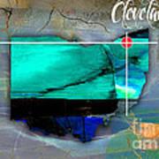 Cleveland Ohio Map Watercolor Art Print