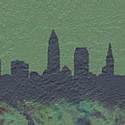 Cleveland Skyline Brick Wall Mural Art Print