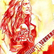 Cliff Burton Playing Bass Guitar Portrait.1 Art Print