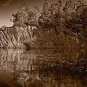 Cliff Face Northshore Mn Bw Art Print