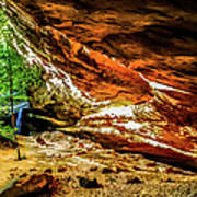 Cliff Rocks And Waterfall Art Print