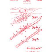 Climber For Skis 1939 Russell Patent Art Red On White Art Print