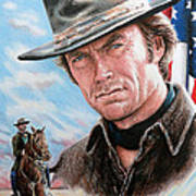 Clint Eastwood American Legend Art Print by Andrew Read