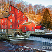 Clinton Mill In Winter Art Print