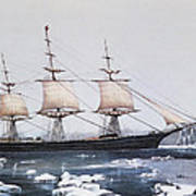 Clipper Ship Red Jacket In The Ice Off Cape Horn On Her Passage From Australia To Liverpool Art Print