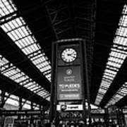 clock in Santiago central railway station Chile Art Print