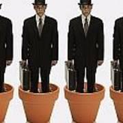Clones Of Man In Business Suit Standing Print by Darren Greenwood