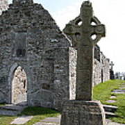 Clonmacnoise Cathedral  And High Cross Ireland Art Print