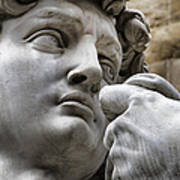Close-up Face Statue Of David In Florence Art Print