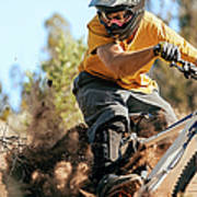 Close Up Of A Mountain Biker Ripping Art Print