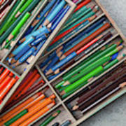 Close-up Of Color Pencils, Ishoj Art Print