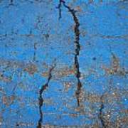 Close Up Of Cracks On A Blue Painted Print by Perry Mastrovito