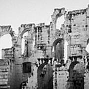 Close Up Of Remains Of Upper Deck In The Old Roman Collosseum At El Jem Tunisia Art Print