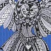 Close Up Owl Blue Art Print