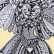 Close Up Owl Cream Art Print