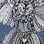 Close Up Owl Denim Art Print