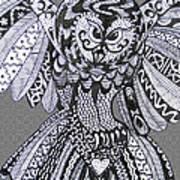 Close Up Owl Grey Art Print