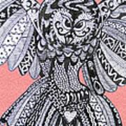 Close Up Owl Pink Art Print
