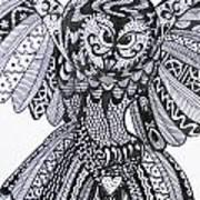 Close Up Owl White Art Print