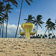 Closed Lifeguard Shack On A Deserted Tropical Beach With Palm Tr Art Print