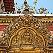Closeup Of Carving Over Door In Bhaktapur Durbar Square In Bhaktapur-nepal Art Print