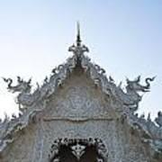 Closeup Of Gable Decoration Inin Wat Rong Khun In Chiang Rai Thailand  Art Print