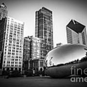 Cloud Gate Bean Chicago Skyline In Black And White Art Print by Paul Velgos