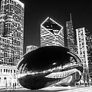 Cloud Gate Chicago Bean Black And White Picture Art Print