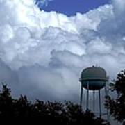 Clouds Around The Water Tower Art Print