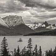 Cloudy Mountain Top Art Print