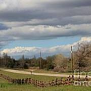 Cloudy Sky With A Log Fence Art Print
